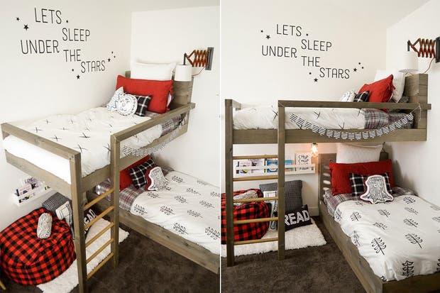 Un cuarto para chicos que sea compartido necesita dos cosas: de base, un criterio estético unificado y, para diferenciar las áreas, una batería de accesorios y detalles que lo vuelvan personal.  /Apartmenttherapy.com