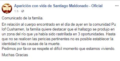 El comunicado de la familia Maldonado