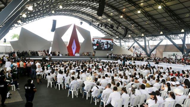El papa en el Encuentro de Reconciliación Nacional en el parque Las Malocas