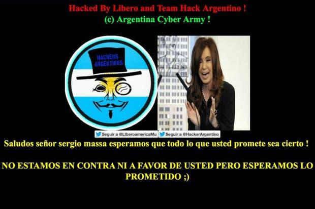 El hackeo del sitio oficial de Sergio Massa