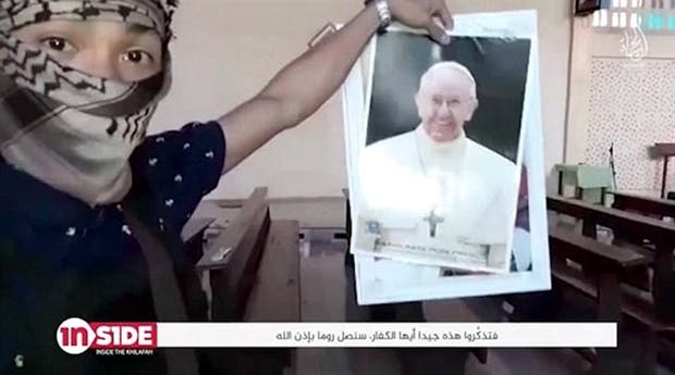 El jihadista con la foto de Bergoglio