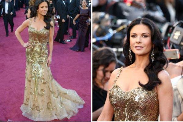 La actriz Catherine Zeta-Jones en una realización del modisto libanés Zuhair Murad, otra apuesta al dorado. Foto: AP
