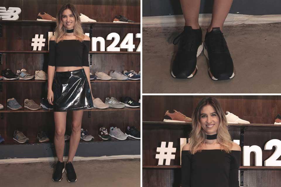 ¿Qué se puso Cintia Garrido para pasar por el local de New Balance? Crop top, falda plastificada y zapatillas a tono. Foto: OHLALÁ!