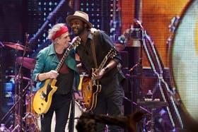 Con Keith Richards en el show de los Stones, en Nueva York