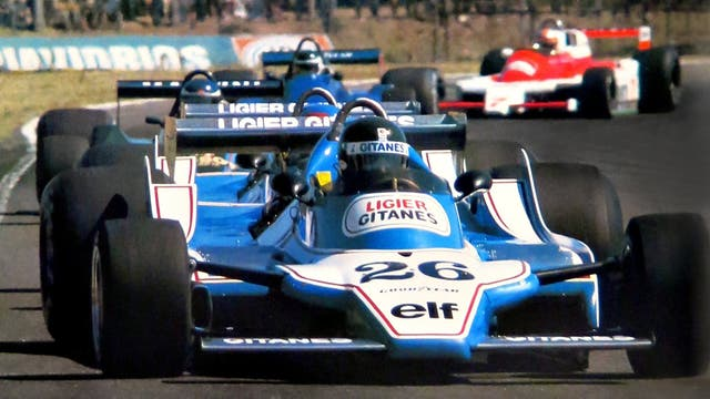 21 de enero de 1979. Laffite, Depailler y Reutemann liderando la prueba en el autódromo de Buenos Aires