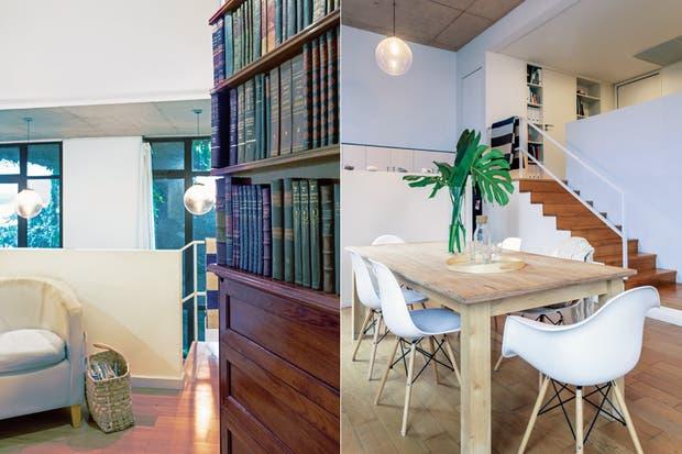 Bien sencilla, mesa de madera maciza diseñada por Martin y construida por un carpintero, acompañada por un juego de sillas blancas 'Eiffel Dsw' de Eames.  Foto:Living /Daniel Karp