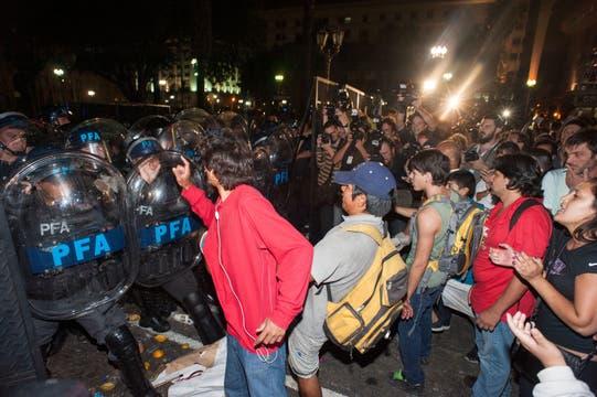 Incidentes en Plaza de Mayo durante la movilización. Foto: Patricio Pidal/AFV