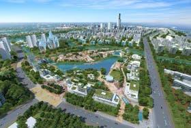 Una simulación de cómo se vería una de las proyectadas ciudades inteligentes de China