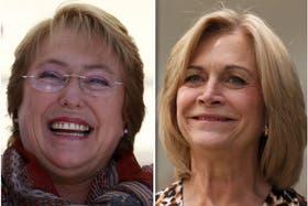 Candidatas. Michelle Bachelet (iz), favorita en las encuestas, y Evelyn Matthei (de)