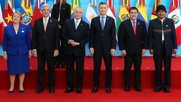 La foto de familia de la última reunión de presidentes del Mercosur, el mes pasado, en Mendoza