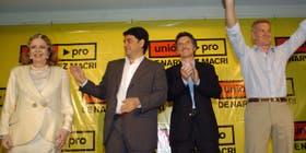 Pinky, junto a Mauricio y Jorge Macri y Franciso De Narváez en el cierre de campaña de las elecciones de 2007