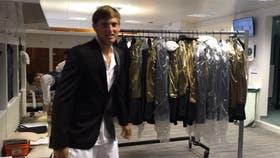Geller, en la prueba de ropa antes de la cena de honor en Wimbledon