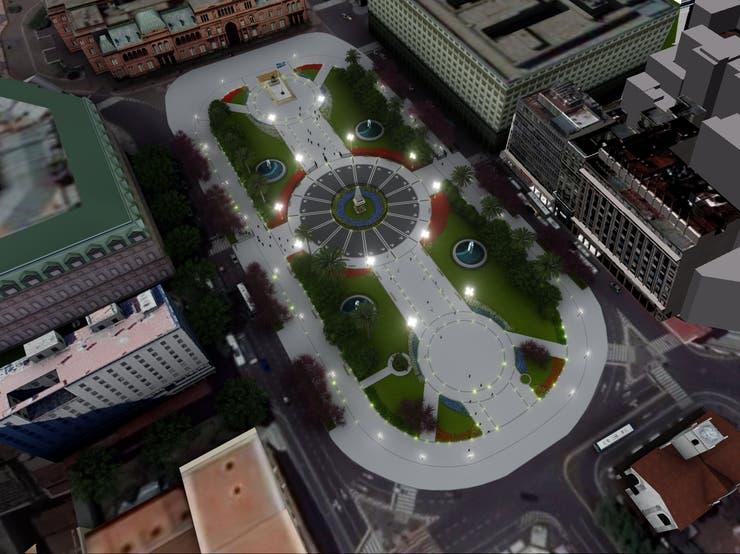Render oficial de cómo quedará la Plaza de Mayo