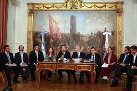 Mauricio Macri este medio día durante la conferencia de prensa en la Casa de Gobierno Porteño
