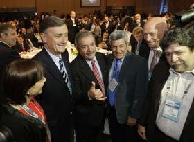 Hermes Binner, Lula, De Genaro, Antonio Bonfatti y Claudio Lozano, ayer, en IDEA