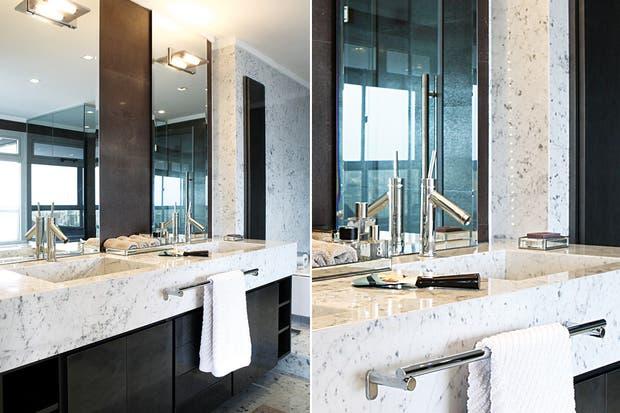 Baños Modernos Marmol:Sofisticado y moderno, este baño combina lo clásico del mármol con