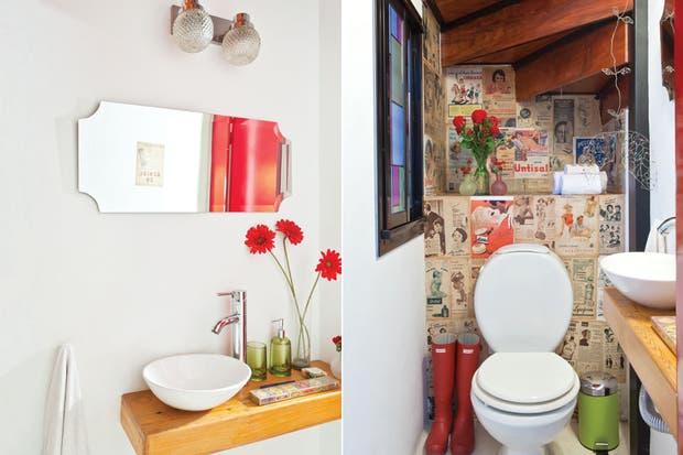 Imagenes Baños Femeninos:En este toilette, se revistió una pared con antiguas publicidades