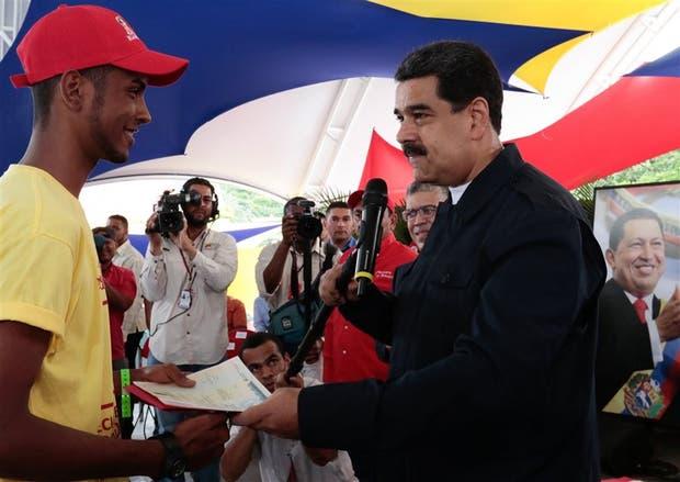 Maduro, ayer, durante un acto gubernamental en Caracas