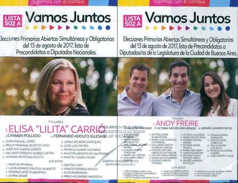 Las boletas de los candidatos en Capital Federal.