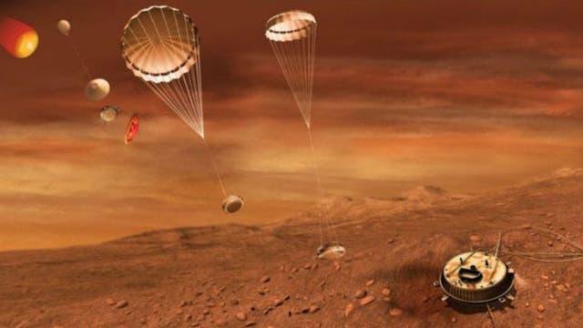 Este dibujo representa el momento en que la sonda Huygens llegó a Titán.