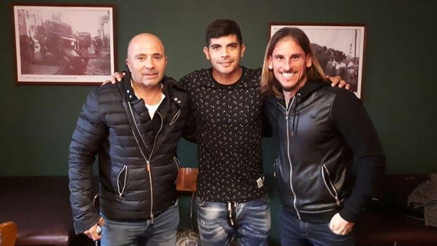 Banega, con Sampaoli y Beccacece, este jueves en Rosario