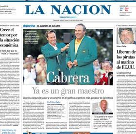 La portada del 13 de abril de 2009, con la conquista del Pato Cabrera en Augusta