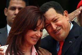 Hugo Chávez junto a Cristina Kirchner