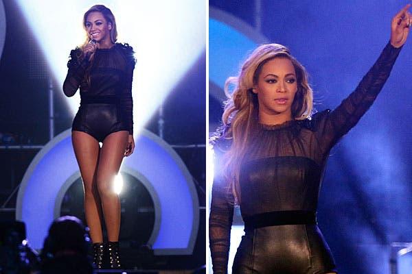 Beyonce eligió un conjunto ajustadísimo en cuero y transparencias. Foto: Reuters y AP