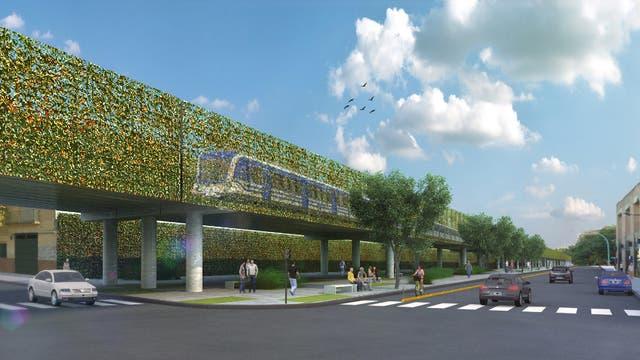 Render de cómo quedará el viaducto en altura del tren San Martín, una obra que se inauguraría en 2019