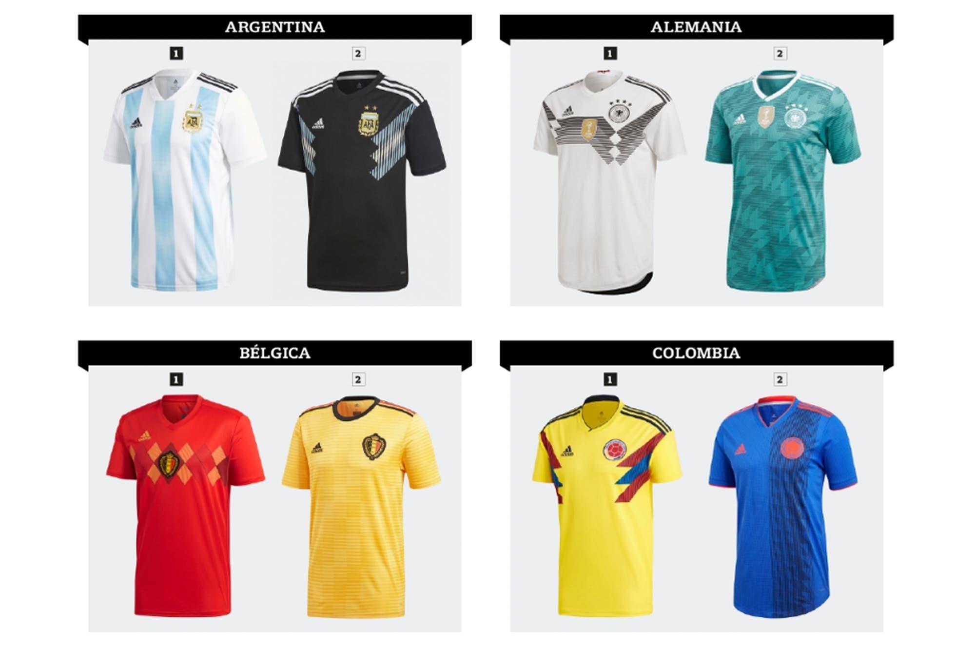 8483a31806e44 Titulares y suplentes  las 64 camisetas del Mundial Rusia 2018 - LA NACION