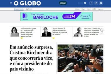 O Globo refleja la noticia de la fórmula kirchnerista