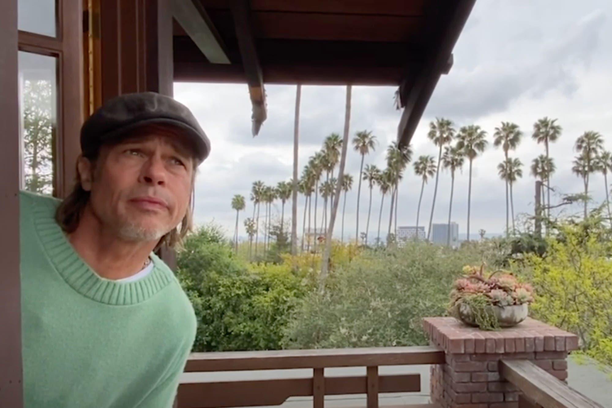 """Brad Pitt se convirtió en """"el chico del clima"""", desde su casa"""