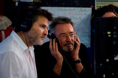 Gastón Duprat y Oscar Martínez durante el rodaje de Competencia oficial