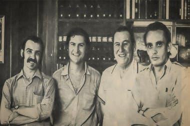 Pino Solanas junto a Juan Domingo Perón y Octavio Getino en Puerta de Hierro