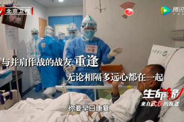 Yi Fan durante su internación, después de haber recibido el tratamiento con cloroquina.