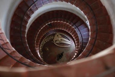Las escaleras en espiral hacia lo alto del faro, una imagen que impacta a quienes entran por primera vez