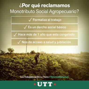Agricultores de la Unión de Trabajadores de la Tierra presentaron un amparo para poder incorporarse al Monotributo Social Agropecuario y detallaron los puntos por los que reclaman