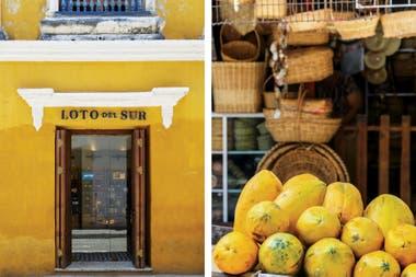 La fachada de Loto del Sur, la moderna y exquisita tienda de fragancias. Der.: Mares de frutas y artesanías forman parte del atractivo de Cartagena.