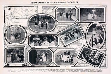 Otro aviso de la Revista BAP con la fotografía social de la época. En el epígrafe figuran los huéspedes ilustres: Lacroze, Devoto, Varela, Villanueva, Civit, De Vedia, entre otros.