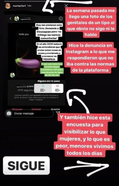 El mensaje de Martita Fort en Instagram