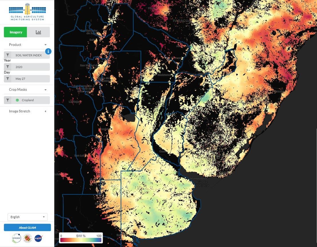El índice de humedad de la NASA Harvest