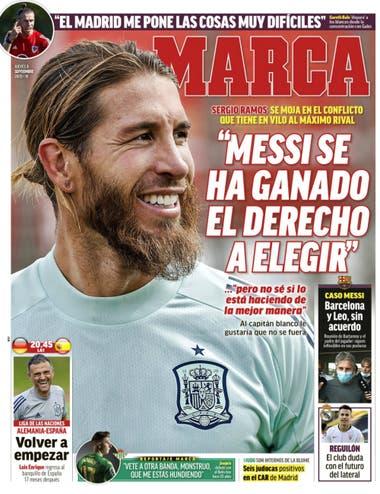 La portada de Marca, con Sergio Ramos: el capitán de Real Madrid habló de Messi