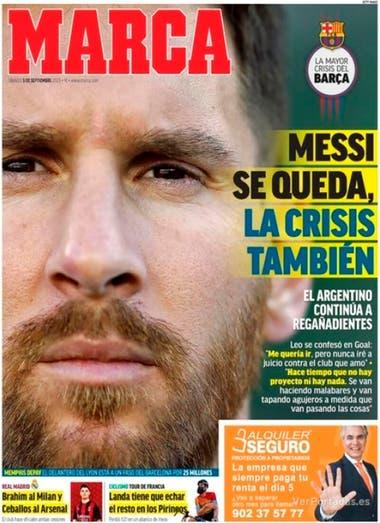 """Messi sigue en Barcelona. Los diarios europeos y un título fuerte sobre  Lionel: """"Se queda, la crisis también"""" - LA NACION"""