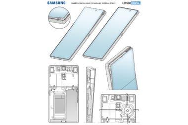 Una representación de la patente presentada por Samsung, que muestra el funcionamiento del sistema de pantalla emergente en la parte superior
