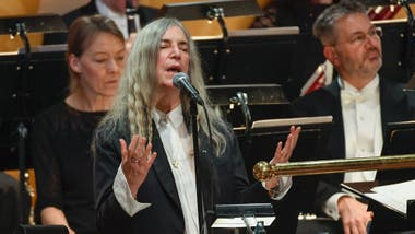 Patti Smith, durante la ceremonia en Estocolmo
