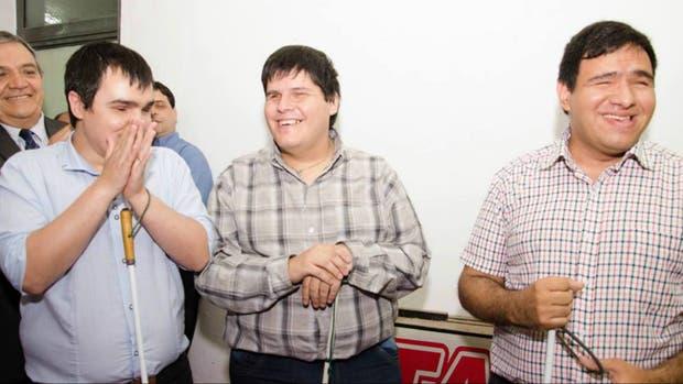 Julio Peralta, Bruno Boiero y Jonatan Jusid, el día de la inauguración del call center en Córdoba