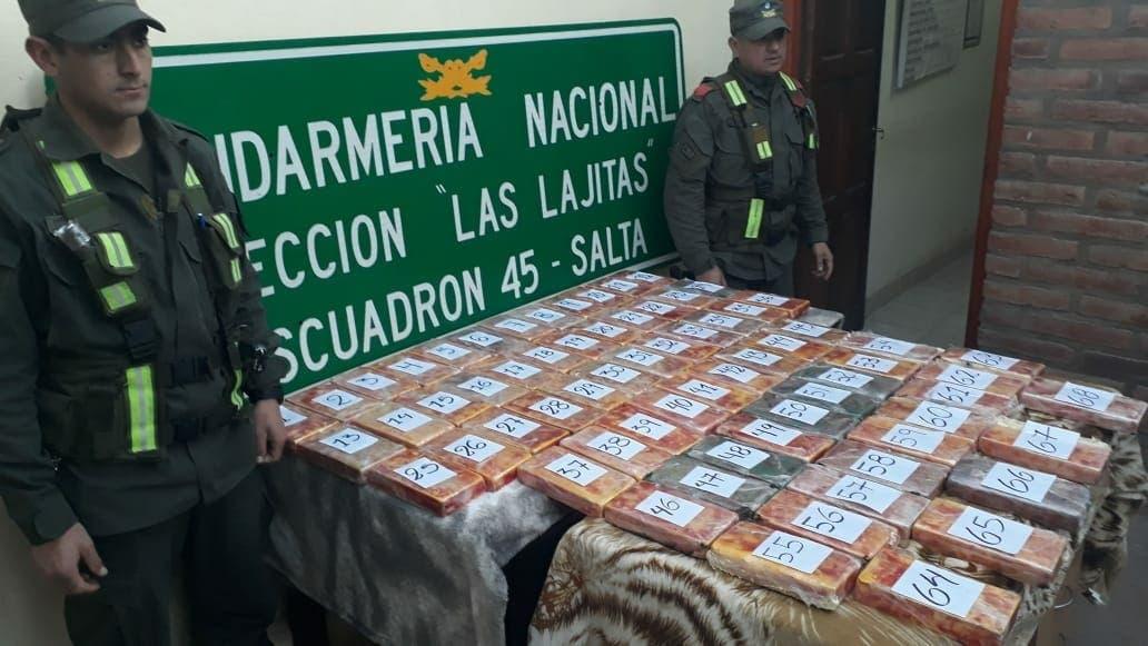 Secuestran 73 kilos de cocaína en Salta