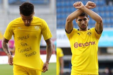 Los jugadores de Borussia Dortmun, Sancho y Hakimi y sus pedidos de justicia durante el partido del último fin de semana. Finalmente no serán sancionados.