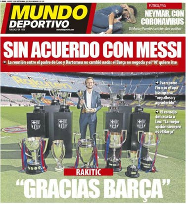 Mundo Deportivo tituló con Messi, pero su imagen elegida es la despedida de Ivan Rakitic