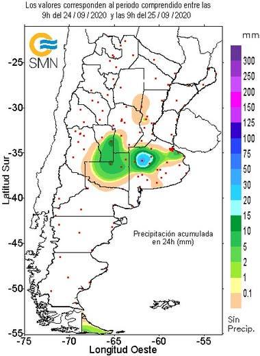 Precipitaciones de las últimas 24 horas